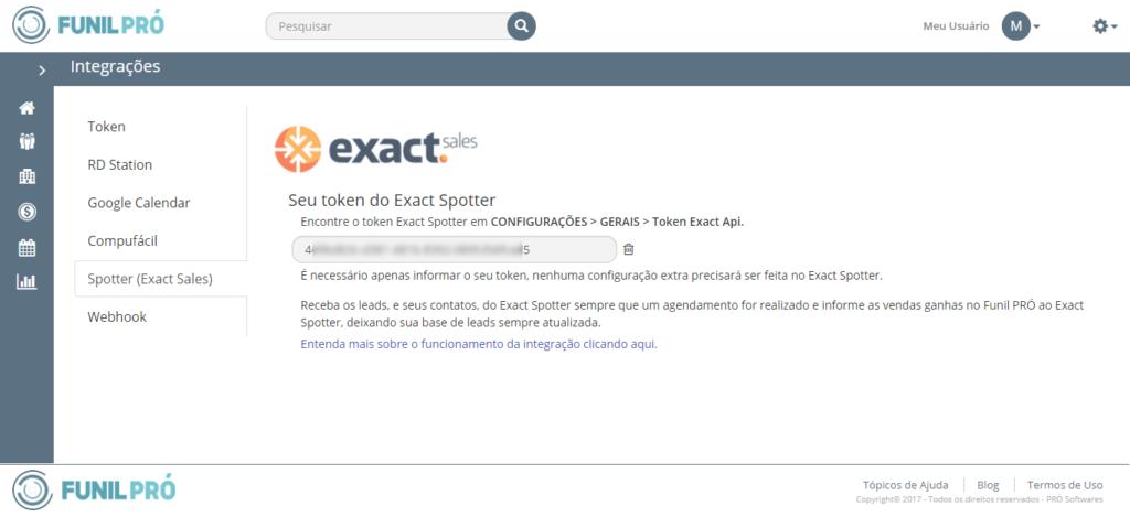 Área de configuração de integrações do Funil PRÓ e Exact Spotter